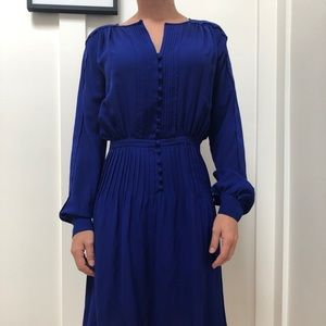 Cobalt blue office to date night DVF midi dress.